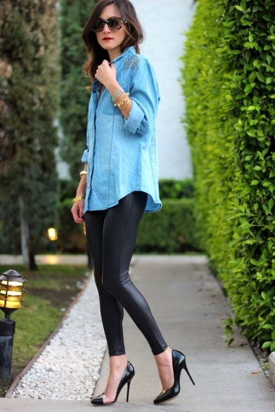 Robe en jean avec collant noir