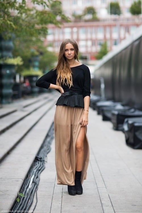 040c76107 Comment porter la jupe longue? - Bien habillée