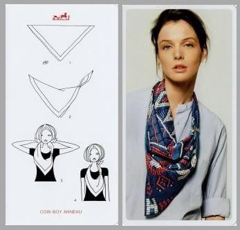 b89a29a1c850 Autre façon, à réaliser avec un foulard en soie de préférence, réalisez un  nœud d un coté après avoir plié votre carré en triangle.
