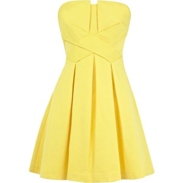 robe bustier jaune Warehouse