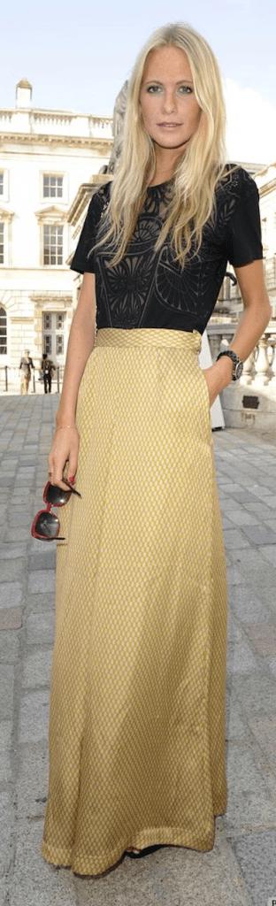 jupe longue dorée
