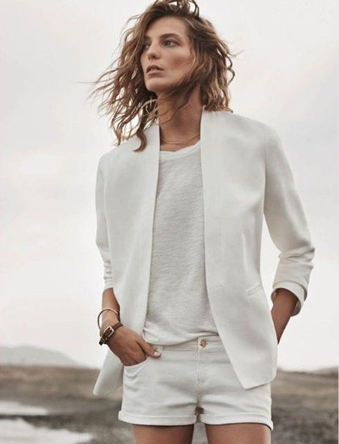 Veste en jean blanc destroy femme