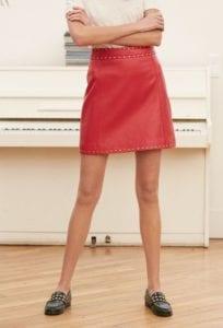 Jupe en cuir rouge Claudie Pierlot